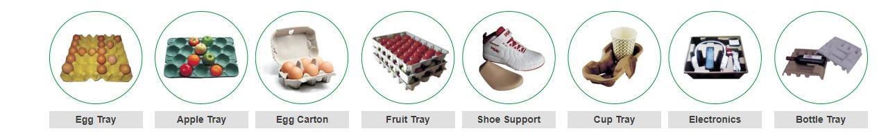Various End Products Of Egg Tray Machine